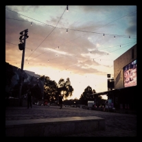Federation Square at sunrise